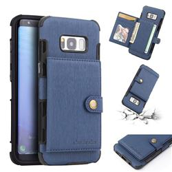 Brush Multi-function Leather Phone Case for Samsung Galaxy S8 - Blue