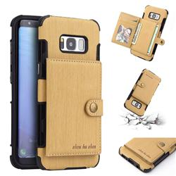 Brush Multi-function Leather Phone Case for Samsung Galaxy S8 - Golden