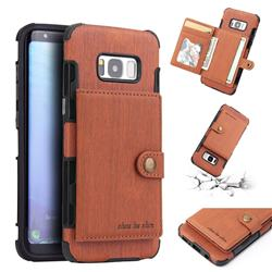 Brush Multi-function Leather Phone Case for Samsung Galaxy S8 - Brown