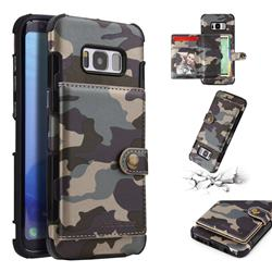 Camouflage Multi-function Leather Phone Case for Samsung Galaxy S8 - Gray