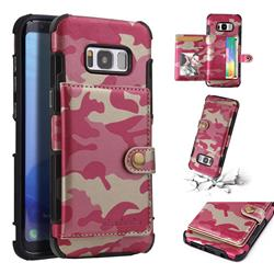 Camouflage Multi-function Leather Phone Case for Samsung Galaxy S8 - Rose
