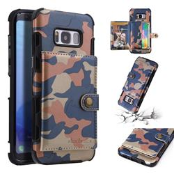 Camouflage Multi-function Leather Phone Case for Samsung Galaxy S8 - Blue