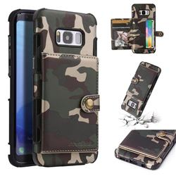 Camouflage Multi-function Leather Phone Case for Samsung Galaxy S8 - Army Green