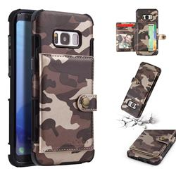 Camouflage Multi-function Leather Phone Case for Samsung Galaxy S8 - Coffee