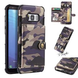 Camouflage Multi-function Leather Phone Case for Samsung Galaxy S8 - Purple