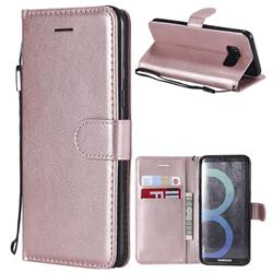 Retro Greek Classic Smooth PU Leather Wallet Phone Case for Samsung Galaxy S8 - Rose Gold