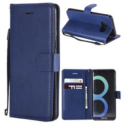 Retro Greek Classic Smooth PU Leather Wallet Phone Case for Samsung Galaxy S8 - Blue