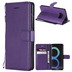 Retro Greek Classic Smooth PU Leather Wallet Phone Case for Samsung Galaxy S8 - Purple