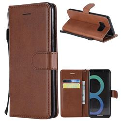 Retro Greek Classic Smooth PU Leather Wallet Phone Case for Samsung Galaxy S8 - Brown