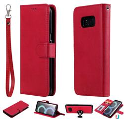 Retro Greek Detachable Magnetic PU Leather Wallet Phone Case for Samsung Galaxy S8 - Red