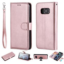 Retro Greek Detachable Magnetic PU Leather Wallet Phone Case for Samsung Galaxy S8 - Rose Gold