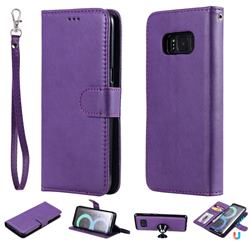 Retro Greek Detachable Magnetic PU Leather Wallet Phone Case for Samsung Galaxy S8 - Purple