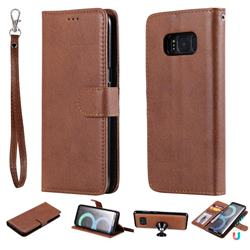 Retro Greek Detachable Magnetic PU Leather Wallet Phone Case for Samsung Galaxy S8 - Brown