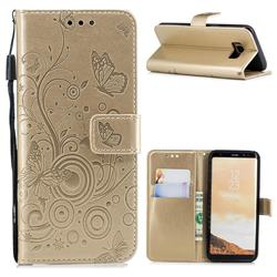 Intricate Embossing Butterfly Circle Leather Wallet Case for Samsung Galaxy S8 - Champagne