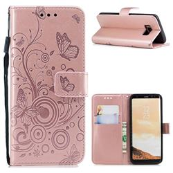 Intricate Embossing Butterfly Circle Leather Wallet Case for Samsung Galaxy S8 - Rose Gold