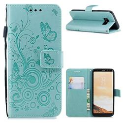 Intricate Embossing Butterfly Circle Leather Wallet Case for Samsung Galaxy S8 - Cyan