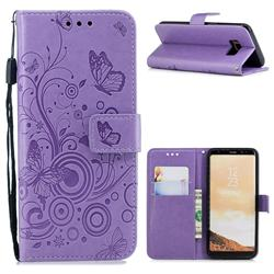 Intricate Embossing Butterfly Circle Leather Wallet Case for Samsung Galaxy S8 - Purple