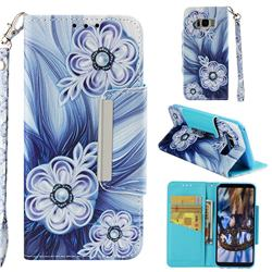 Button Flower Big Metal Buckle PU Leather Wallet Phone Case for Samsung Galaxy S8