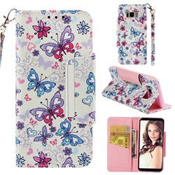 Colored Butterfly Big Metal Buckle PU Leather Wallet Phone Case for Samsung Galaxy S8