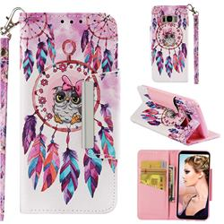 Owl Wind Chimes Big Metal Buckle PU Leather Wallet Phone Case for Samsung Galaxy S8