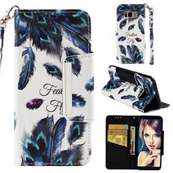 Peacock Feather Big Metal Buckle PU Leather Wallet Phone Case for Samsung Galaxy S8