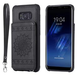 Luxury Embossing Sunflower Multifunction Leather Back Cover for Samsung Galaxy S8 - Black