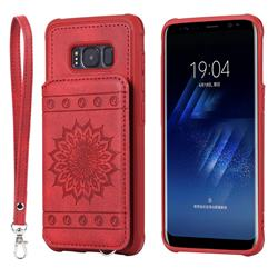 Luxury Embossing Sunflower Multifunction Leather Back Cover for Samsung Galaxy S8 - Red