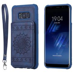 Luxury Embossing Sunflower Multifunction Leather Back Cover for Samsung Galaxy S8 - Blue
