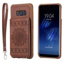Luxury Embossing Sunflower Multifunction Leather Back Cover for Samsung Galaxy S8 - Coffee