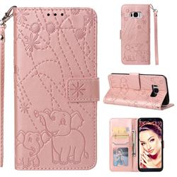Embossing Fireworks Elephant Leather Wallet Case for Samsung Galaxy S8 - Rose Gold