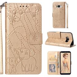 Embossing Fireworks Elephant Leather Wallet Case for Samsung Galaxy S8 - Golden