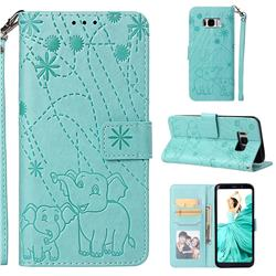 Embossing Fireworks Elephant Leather Wallet Case for Samsung Galaxy S8 - Green