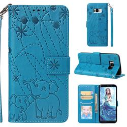 Embossing Fireworks Elephant Leather Wallet Case for Samsung Galaxy S8 - Blue