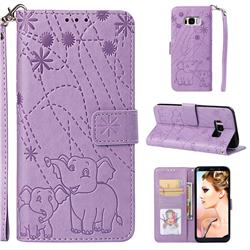 Embossing Fireworks Elephant Leather Wallet Case for Samsung Galaxy S8 - Purple