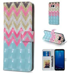 Color Wave 3D Painted Leather Phone Wallet Case for Samsung Galaxy S8