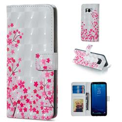 Cherry Blossom 3D Painted Leather Phone Wallet Case for Samsung Galaxy S8
