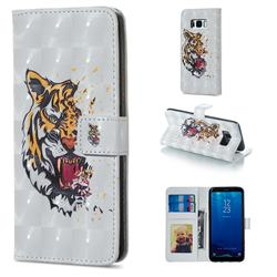 Toothed Tiger 3D Painted Leather Phone Wallet Case for Samsung Galaxy S8