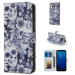 Skull Flower 3D Painted Leather Phone Wallet Case for Samsung Galaxy S8