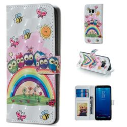 Rainbow Owl Family 3D Painted Leather Phone Wallet Case for Samsung Galaxy S8