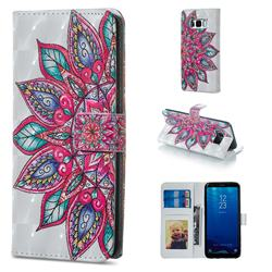 Mandara Flower 3D Painted Leather Phone Wallet Case for Samsung Galaxy S8