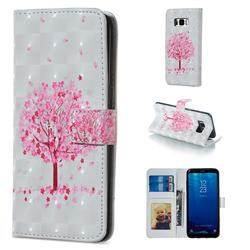 Sakura Flower Tree 3D Painted Leather Phone Wallet Case for Samsung Galaxy S8