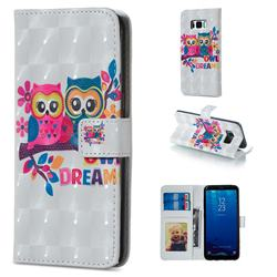 Couple Owl 3D Painted Leather Phone Wallet Case for Samsung Galaxy S8