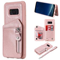 Classic Luxury Buckle Zipper Anti-fall Leather Phone Back Cover for Samsung Galaxy S8 - Pink