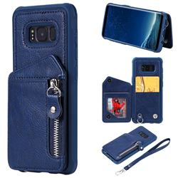 Classic Luxury Buckle Zipper Anti-fall Leather Phone Back Cover for Samsung Galaxy S8 - Blue