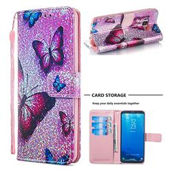 Blue Butterfly Sequins Painted Leather Wallet Case for Samsung Galaxy S8
