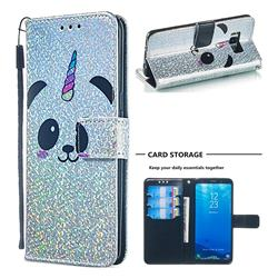 Panda Unicorn Sequins Painted Leather Wallet Case for Samsung Galaxy S8