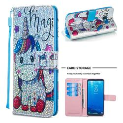 Star Unicorn Sequins Painted Leather Wallet Case for Samsung Galaxy S8