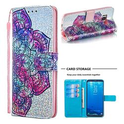 Glutinous Flower Sequins Painted Leather Wallet Case for Samsung Galaxy S8