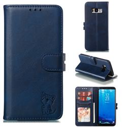 Embossing Happy Cat Leather Wallet Case for Samsung Galaxy S8 - Blue