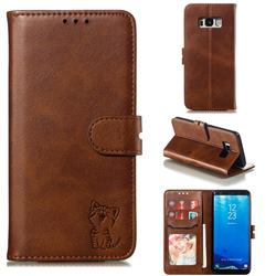 Embossing Happy Cat Leather Wallet Case for Samsung Galaxy S8 - Brown